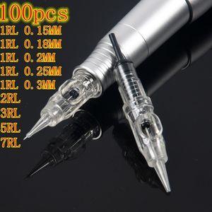 Tattoo Needle 1RL Disposable Sterilized Permanent Makeup Cartridge Needles Tips For Eyebrow Lip Agulha Easy Click CX200808
