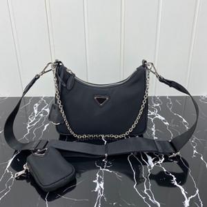 Высокое качество Мода Luxurys Конструкторы Сумки Сумки Кошельки Нейлон переиздание 2005 Hobo Холст сумка Женщины цепи Crossbody сумка