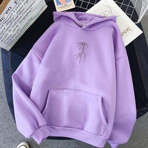 Flower Print Harajuku Sweatshirt Winter Streetwear Korean Style Hoodie Fashion Simple Hoody Ladies Womens Jacket Line Drawing