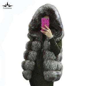 Leiouna longo de 2020 Fur Coats Para Femal casaco de inverno tamanho Plus Mulheres Jacket Moda Casual Furry falso vison