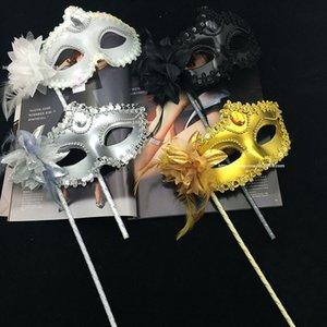 Halloween Handheld Mask Máscaras Venetian do Meio face flor do partido do disfarce da festa de casamento de dança de Natal Sexy Costume Máscara HWF838