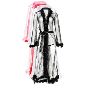 Merletto del manicotto di lana Top Sexy Ladies abbigliamento informale Biancheria intima delle donne See Through Grenadine Sexy Pigiama lungo
