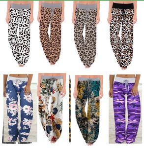 S-5XL Женщины Широкий ноги брюки кулиской Эластичные брюки Leopard Цветочный плед Flare Брюки йоги Сыпучие Bloomers Plus Размер Нижняя одежда E82001