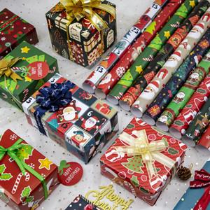 عيد الميلاد التفاف الورقة الخضراء الديكور ورقة كرافت هدية التفاف الديكور حزب عيد الميلاد التعبئة رزمة ورقة هدية