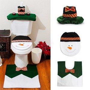 Christmas Green Bow Tie Snowman Toilet Cover Floor Mat Water Tank & Paper Towel Cover Christmas Toilet 3 Pieces Set
