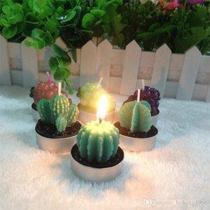 Nueva forma creativa Cactus vela perfumada de Navidad Decoración de fiesta Suministros plantas suculentas sin llama de la vela en maceta Planta 1 3yh