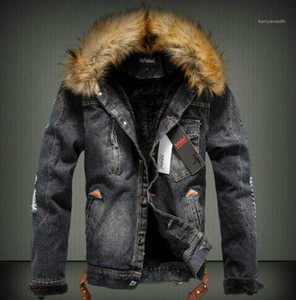 Kürk Lüks ile Kalın ceketler Moda Uzun Kollu Coats Sıcak Jeans Dış Giyim Erkek Giyim Kış Erkek Designer Mens