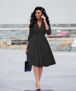 Elbise Sonbahar Kış V Yaka Bayan Giyim Katı Renk Kadın dizayn edilmiş elbiseler Uzun Kollu Gevşek Bayanlar