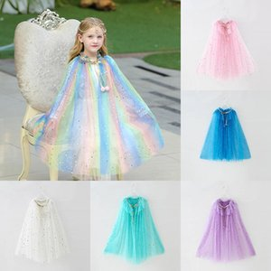 Sequins Star Cloak for Baby Girl Dress Poncho Snow Queen 2 Bow Cloaks Kid Lace Mesh Princess Shawl Children Bow Birthday Clothes
