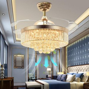 Ceiling Fans with Lights 42 Inch Modern LED Crystal Ceiling Fan Chandelier Light with Remote Control Retractable Blades Fan for Living Room