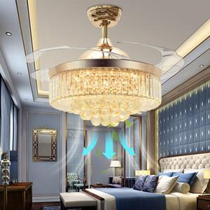 Tavan Hayranları Işıkları ile 42 Inç Modern LED Kristal Tavan Fanı Avize Işık Uzaktan Kumanda ile Geri Çekilebilir Bıçakları Fan Oturma Odası Için