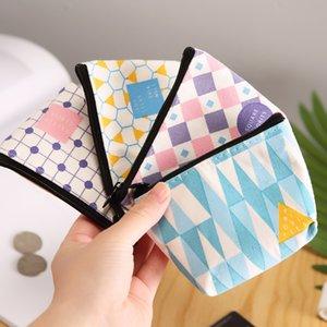 P441 Purse Creative Geometry Wallet Canvas Bag Zipper Mini Cute Cartoon Short South Korea Mobile Phone Bag