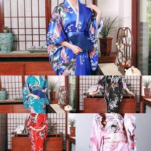 JLOka New verão quimono camisola noiva salão de beleza roupão Peacock Beauty Nightgown pijama robe manhã