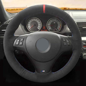 Schwarz DIY handgenähten Leder Auto Lenkradabdeckung für BMW M Sport M3 E90 E91 E92 E93 E87 E81 E82 E88
