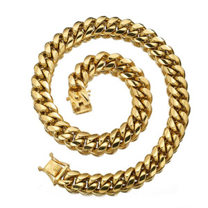 """Fashion New Miami Cuban Curb Link Chain 18mm Width Stainless Steel Gold Tone Necklace Or Bracelet Bangle Dragon Lock Clasp 7-40"""""""