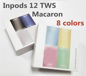 Inpods12 무선 블루투스 이어폰 I12 TWS inpods 12 마카롱 컬러 V5.0 스테레오 이어폰 스포츠 Sweatproof 미니 터치 헤드셋