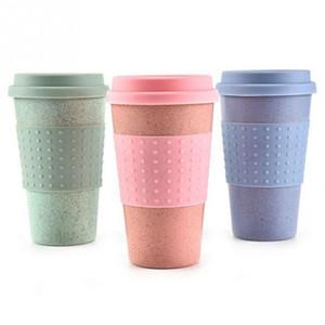Caneca de palha de trigo plástico copos de café do curso com tampa de viagem Easy Go Cup portátil para Outdoor Camping Caminhadas Picnic