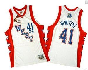 Uomini Dirk Nowitzki Mitchell Ness Red Hardwoods Classics 2004 All-Star Jersey autentica
