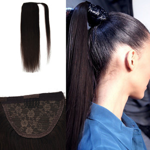 "Straight Human Hair Ponytail 100% Natural Machine Made Remy Clip In Real Pony Tail Hair Extensions 12"" 16"" 20"""