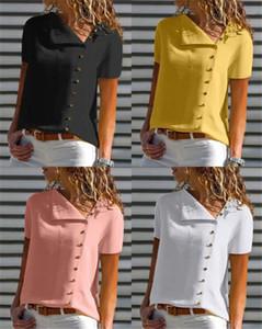 Polos Сыпучие V образным вырезом с коротким рукавом шифон рубашка блузка сплошной цвет Топы Женский Одежда Womens конструктор