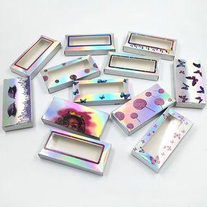 Блеск 3D норка Ресницы Box Laser Ложные Ресницы Дело норковые Lashes Упаковка Lash Коробки Подарки Упаковка Box Private Логотип