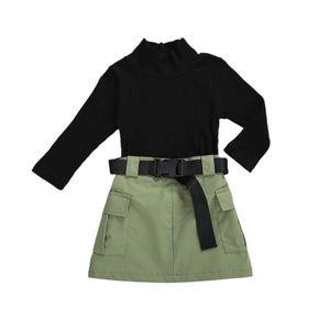 ZWY435 Kids Baby Girls Fashion 3Pcs Outfit Set Long Sleeve Half Turtleneck Top Ribbed Solid Shirt + Work Skirt+Belt Set 0926