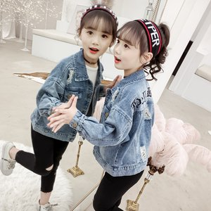 2020 Moda Çocuk Denim CoatOuterwear Bebek Kız Denim Ceket Çocuk Kız Jean kıyafetler Genç Kız Karikatür Coat 4-14