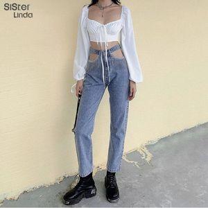 Sisterlinda Vogue irregolare Breve Denim cappotti Donne Jeans Pant Semplice Soft Top Giacca Hollow pantaloni femminili Outfits Streetwear