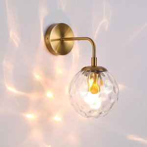Modern indoor wall lights creative black gold clear glass shade led wall lamp bathroom bedroom stairs sconces luminaire