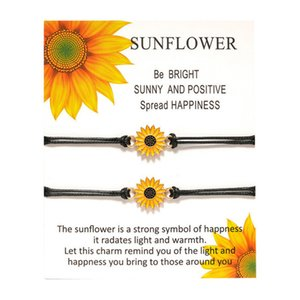 Sunflower Charm Bracelets Sun Flower Daisy Handmade Wax Rope Chain Bracelets for Women Fashion Jewelry Gifts