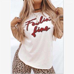 Clothing Summer Women T Shirt Crew Neck Short Sleeve Letter Printed Female Tops Plus Size Female