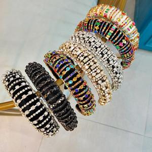 La pleine Diamante rembourré baroque Bandeaux Bandeaux cristal de luxe pour les femmes strass Tiara bling Accessoires de cheveux 9 styles