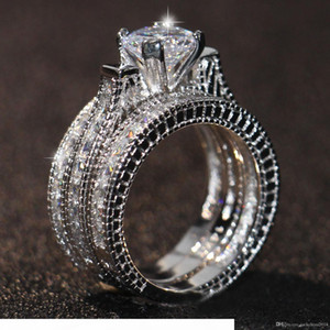 Free shipping Hot sale Engagement Topaz Simulated Diamond Diamonique 14KT White Gold Filled 3 Wedding women Ring Sets gift Size 5-11