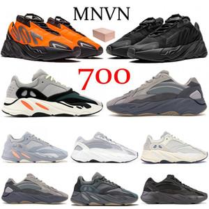 Dalga koşucu 700 Kanye West MNVN Turuncu Üçlü Siyah Yansıtıcı koşu ayakkabıları Katı Gri mıknatıs Vanta Karbon Mavi Atalet V1 V2 erkek spor ayakkabısı