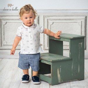 DB13136 Dave bella yaz erkek bebekleri moda baskı cepler giyim setleri çocuk yakışıklı kısa kollu setleri çocuk 2 adet Lcnh # uyacak