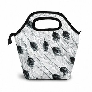 Эму перо обед мешок обед / Ледовые сумки Портативный Изолированный Пикник Box Для женщин Для мужчин NIK9 #