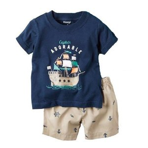 Kapitän Baby-Kleidung Klage-Piraten-Kostüme Kinder Outfits Sommer-Pyjama für Junge Nachtwäsche T Shirts Tops kurzer Hose Set
