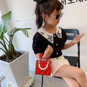 Girls Designer Handbags Fashion Kids PU Leather Princess Pearl Messenger Bags Children Shoulder Mini Bag Purse Women Bag S681