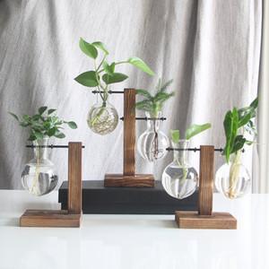 Planta hidropónica florero transparente escritorio de cristal Tiesto Marco de madera del envase de artículos de menaje de mesa para la decoración del hogar # 59