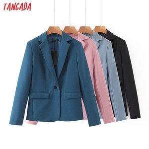 Tangada women dark blue blazer female long sleeve elegant jacket ladies business blazer suits QB17