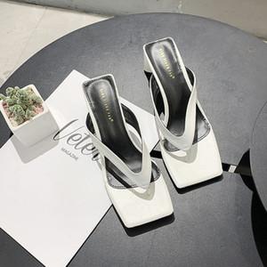RrnNl sandalias celebridad cuadrado flip-flops los zapatos de las mujeres 2020 nuevo outdoor mediados de talón en línea punta cuadrada verano punta abierta de alta flip-flops Dm17c hig