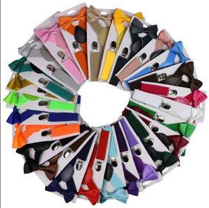 Enfants Ceinture Bowtie Set SOILD couleur pour enfants avec bretelles Bow Tie réglable Filles Garçons clip sur Y Retour Accolades Accessoires de mariage FWC2427