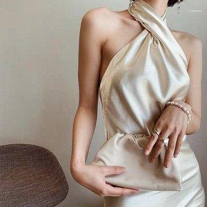 İnce BODYCON Elbiseler Casual Doğal Renk Kolsuz Elbise Kadın Giyim Ins Stil Bayan Elbise Seksi Halter