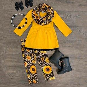2 Stück Childerns Kleinkind-Kind-Baby-Mädchen-Outfits Kleidung O Ansatz Gelb Langarm Herbst T-Shirt Tops Leopard-Gamaschen-Hosen 2019 Y200829