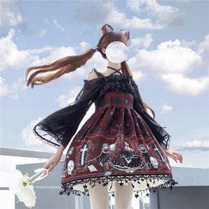 Lolita Fantasma padrão impresso Cosplay por Mulheres Gothic JSK Ruffle Cruz Decorado Retro Strap Tulle Vestido Tea Party saia CX200817