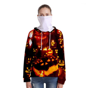 Spring Autumn Long Sleeve Sweatershirt Male Loose Clothes Women Halloween 3D Hoodies And Kerchief