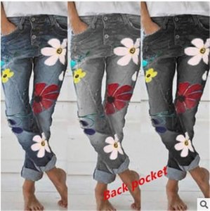 Pockets Girls Mid Waist Fashion Trousers Womens Designer Button Fly Jeans Spring Floral Jean Long Pencil Pants with
