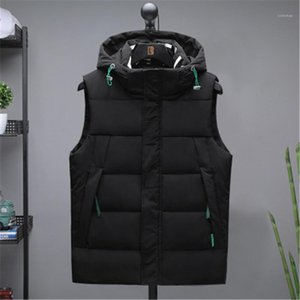 CAasual Coats Designer Male New Zipper Slim Solid Color Outerwear Mens Waistcoat Sleeveless Vests Fashion Trend Stand Collar Hooded