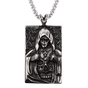 Religious square brand necklace masked goddess Christian cross skull skeleton pendant chain necklace men and women punk wholesal