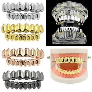 Banhados a ouro 14K Dentes Hip Hop Grillz Caps Superior Inferior Grill Set dentes de vampiro Caps Halloween Party Rapper Corpo Designer Jóias DHL grátis